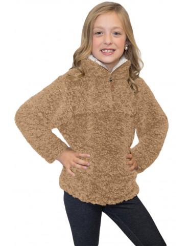 Mocha Luxe Fuzzy Pullover Sherpa Girl Sweatshirt