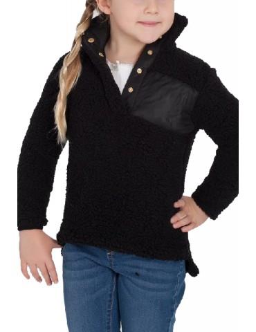 Black Sherpa Pullover for Little Girl