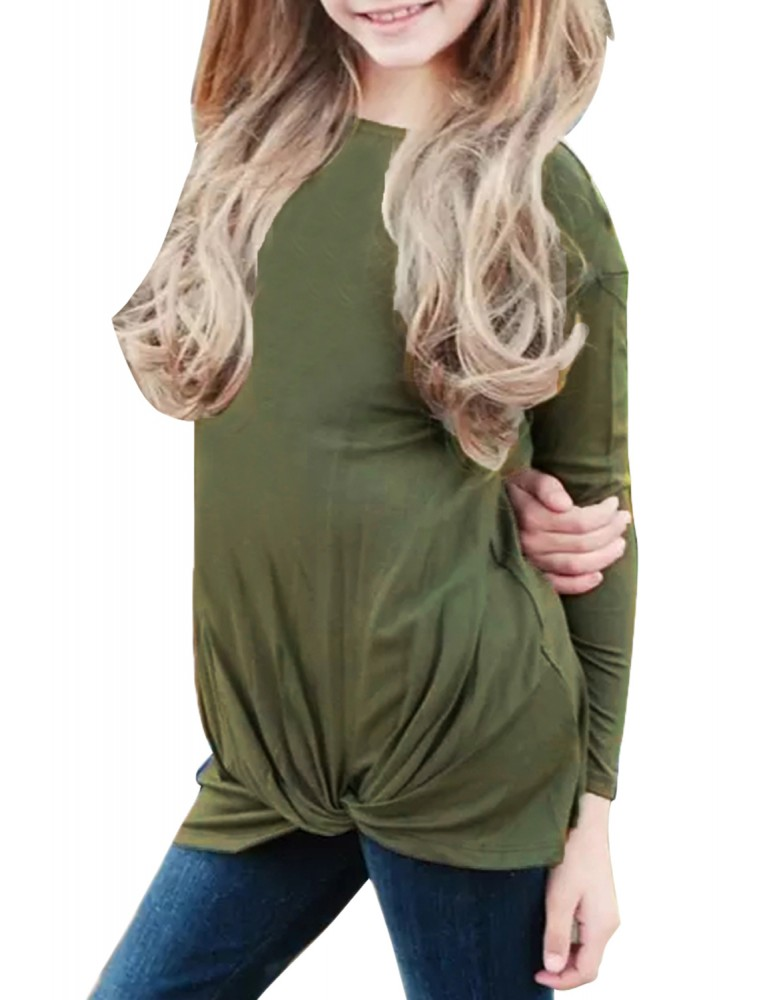 Army Green Twist Knot Detail Long Sleeve Girl's Top