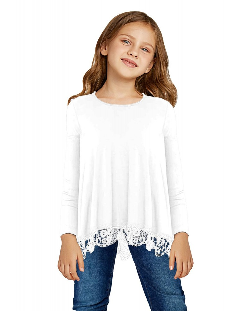 White Long Sleeve Lace Trim O-neck A-line Tunic Blouse