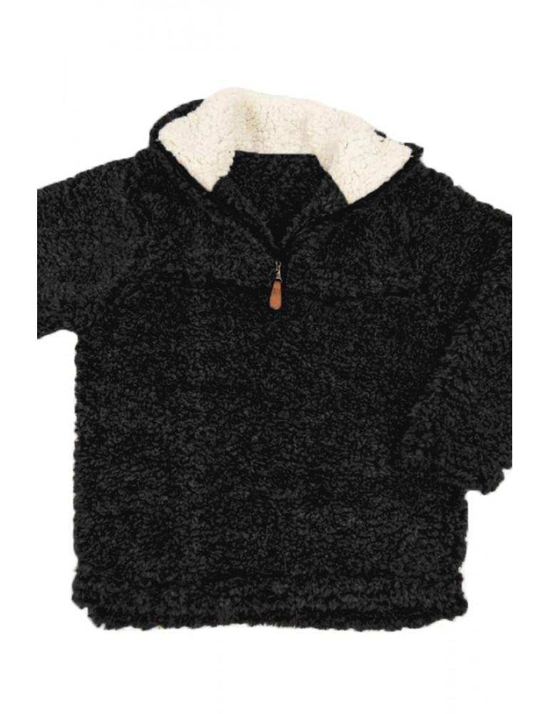 Black Luxe Fuzzy Pullover Sherpa Girl Sweatshirt
