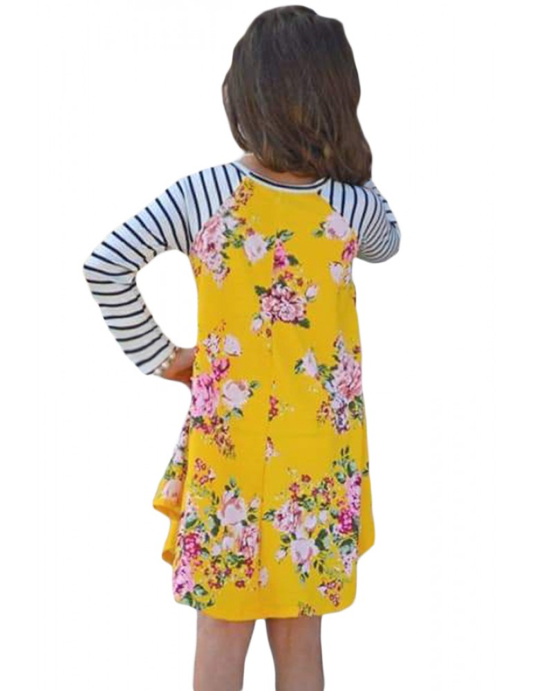 Yellow Spring Fling Floral Striped Sleeve Short Dress for Kids