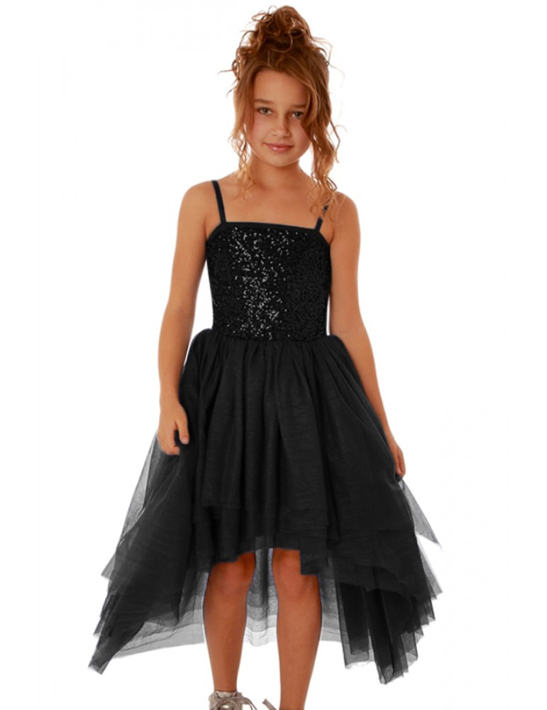Black Sequin Bodice Tulle Hi-low Dress