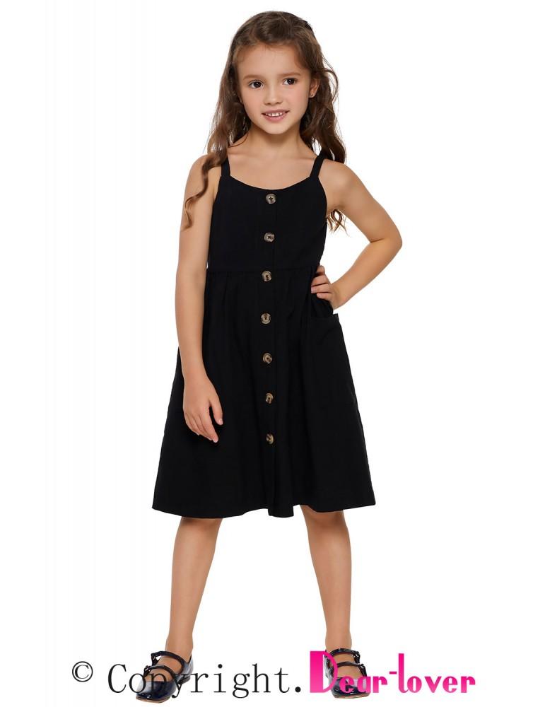 Black Little Girls Spaghetti Strap Button Dress with Pockets