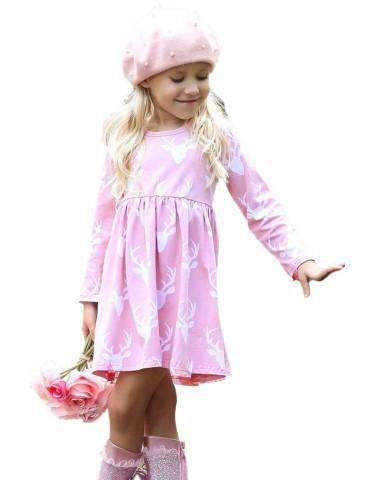 Pink Christmas Deer Print Long Sleeve Girl Dress