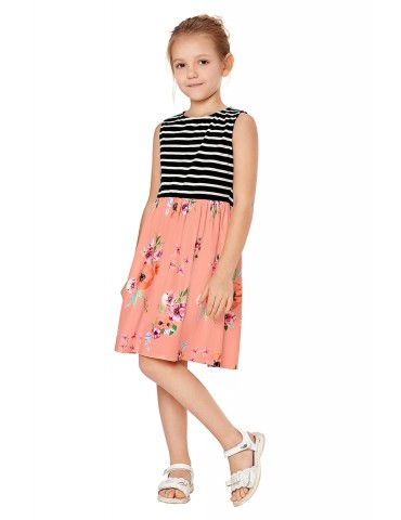 Pink Toddlers Floral and Striped Tank Dress