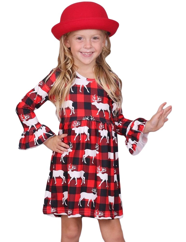 Girls Reindeer Allover Plaid Ruffled Christmas Dress
