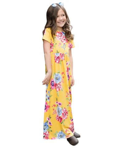 Yellow Short Sleeve Floral Print Loose Casual Maxi Dress with Pockets