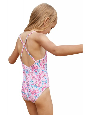 Blue Pink Multi-layer Ruffles Toddler Girls Maillot