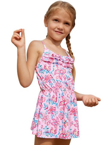 Blue Pink Multi-layer Ruffles Toddler Girls Swim Dress