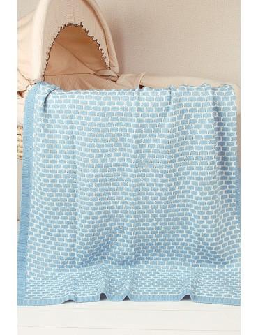 Azure Patterned Cotton Knit Hug Baby Blanket