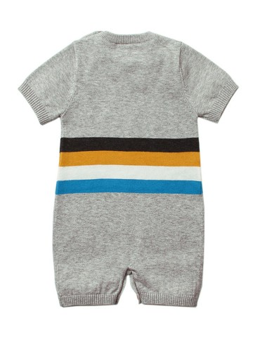 Gray Adorable Shy Sun Pattern Knitted T-shirt Baby Romper