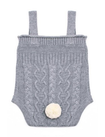 Grey Cable Knit Bunny Tail Baby Romper