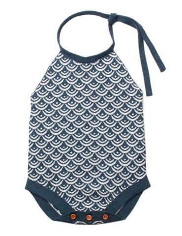 Blue Newborn Baby Sleeveless Knit Scale Romper