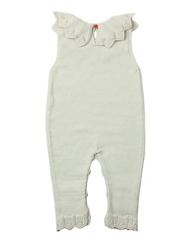 White Flounce Neck Detail Unisex Baby Jumpsuit