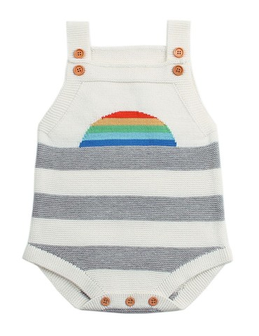White Rainbow Pattern Knit Baby Onesies