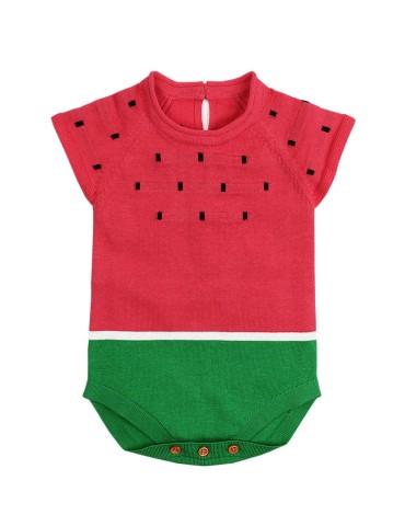 Cartoon Watermelon Knit Baby Onesies