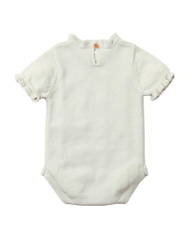 White Vintage Knit Short Sleeve Toddler Onesies